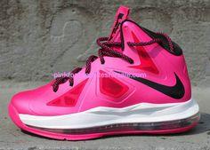 4e79eb9ef40 Lebron 10 GS Pink Fireberry Black White 543564 600  Pink  Womens  Sneakers  Nike