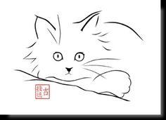 36 Ideas Animal Line Art Paintings Cat Drawing, Line Drawing, Cat Whisperer, F2 Savannah Cat, Cat Art, Painted Rocks, Line Art, Stencil, Art Projects