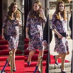 Kate, currently home alone while husband Prince William tours China and Japan, also showed off a noticeably bigger bump which she covered up in a pretty patterned dress by British brand Erdem. - 2 march 2015❤️❤️❤️ .