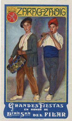 Zaragoza, Spain. Cartel de Fiestas del Pilar. 1916