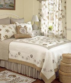 "C&F Enterprises ""Treasures by the Sea Taupe"" quilt collection. #seasells #coastal #quilt #bedding #cfenterprises"