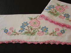 Hand embroidered vintage pillowcases  www.newyorkvintagelinens.com