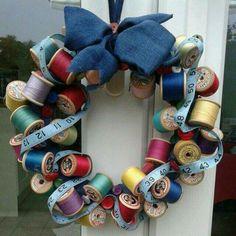 Gift idea - wreath of spools thread, measuring tape, etc.