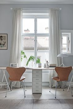 Two seat workspace and an old stove - via cocolapinedesign.com