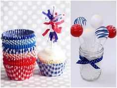 fourth of july cupcake liners cake pops 4th Of July Cake, 4th Of July Celebration, 4th Of July Party, Fourth Of July, Blue Desserts, 4th Of July Desserts, Sweet Desserts, Paper Cupcake, Cupcake Cakes
