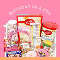 Send a birthday box to someone who needs a happy delivery! You add items you think they'd like! Birthday Box, Happy Birthday, Ice Money, Papers Co, Betty Crocker, Birthday Celebration, Berries, Birthdays, Vanilla