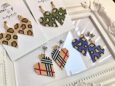 Nicole Miller New York Green Beaded Tassel Drop Leopard Print Triangle Dangle Earrings – Fine Jewelry & Collectibles Bead Loom Bracelets, Bracelet Crafts, Beaded Jewelry Patterns, Beading Patterns, Seed Bead Earrings, Beaded Earrings, Diy Jewelry, Handmade Jewelry, Bracelets