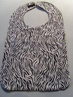 Zebra Print Adult/Senior Bib by StarBoundWestern on Etsy, $15.00