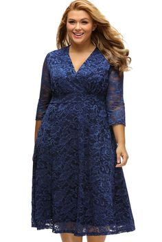 Wholesale Price Navy Blue Surplice Lace V Neck Plus Size Formal Dress At Modeshe.com, Free Shipping With Order 60$