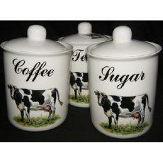 Black & White Cow Tea, Coffee, Sugar Storage Jars