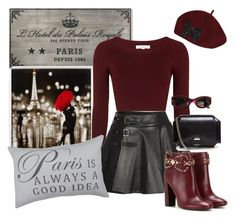"""""""Burgandy and Leather:  Magnifique!!!"""" by briannaandrews500 ❤ liked on Polyvore featuring Thos. Baker, Topshop, Mairi Mcdonald, Tory Burch, Givenchy, Versace and Park B. Smith"""