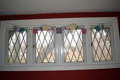 bunting in windows