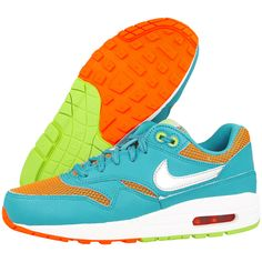 NIKE AIR MAX 1 LE GAMMA BLUE METALLIC SILVER ORANGE 631747 400 $168