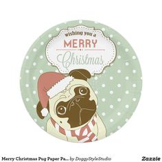 Merry Christmas Pug Paper Party Plates
