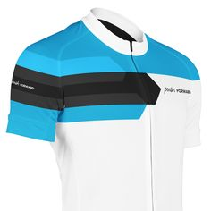 Push FORWARD Blue. Short sleeved summer cycling jersey, made from functional materials for a comfortable ride. Designed in Sweden. Push yourself. Push your limits. Push Cycling Apparel.