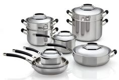 This stainless steel cookware has a flat aluminum base, helping it heat evenly on gas or electric ranges. It's well priced and has nice, upscale features including silicone coated metal handles with hooks for hanging from a pot rack ($159.00 for a 10-piece set). Pros:  Distributes heat evenly on gas and electric ranges Maintains a steady simmer Handles and lids stay cool on the stovetop Pans and lids safe in the oven to 400°F Dishwasher safe Thorough owner's manual   Cons:  Handles are…