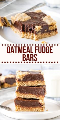 Chewy oatmeal cookie. Rich decadent chocolate. These Oatmeal Fudge Bars are a softer, chewier, more chocolatey version of the Starbucks bars and 1000% better.#fudge #oatmeal #oats #starbucks #bar #chocolate #recipe from Just So Tasty Just Desserts, Delicious Desserts, Dessert Recipes, Yummy Food, Bar Recipes, Bar Cookie Recipes, Fudge Cookie Recipe, Sweet Desserts, No Bake Treats