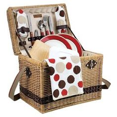 Product: Basket2 Plates 2 Forks 2 Knives 2 Spoons 2 Wine glasses  2 Napkins Food storage container Tablecloth Corkscrew Cutting board  Cheese knifeConstruction Material: Willow and fabricColor: Mocha   Dimensions: Overall: 15 H x 13 W x 10 D Tablecloth: 44 x 44    Shipping: This item ships small parcelExpected Arrival Date: Between 04/12/2013 and 04/20/2013Return Policy: This item is final sale and cannot be returned
