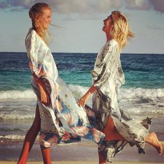 """""""#tbt Emily and Louisa Compton modelling the Conch Shell Kaftans on #pasturebay #mustique. Part of the first collection of kaftans, each one made out of two sarongs with hand beaded ties made with semi precious stones. #pinkhousemustique"""" Photo taken by @pinkhousemustique on Instagram, pinned via the InstaPin iOS App! http://www.instapinapp.com (12/11/2014)"""