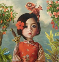 """Mulan"" [Oil on panel, 20 x by Beautiful Bizarre Magazine Art Prize Finalist Olga Esther See all the Finalists & learn more about the Prize on. Art And Illustration, Portrait Illustration, Art Illustrations, Fashion Illustrations, Arte Lowbrow, Bizarre Kunst, Bizarre Art, Art Fantaisiste, Creation Art"