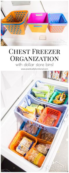Organize your chest freezer in under half an hour with dollar store bins! Great chest freezer organization system; easy to maintain too! Deep Freezer Organization, Dollar Tree Organization, Freezer Storage, Refrigerator Organization, Kitchen Organization Pantry, Craft Organization, Organizing Tips, Organize Chest Freezer, Freezer Meals