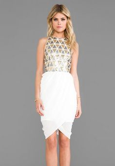 LUMIER Blessing In Disguise Mini Dress in White & Gold & Silver at ...