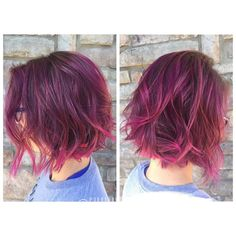 Deep berry roots, blended and balayaged with @kenraprofessional neon pink and @pravana wild orchid, magenta, and neon pink plus new messy, textured cut