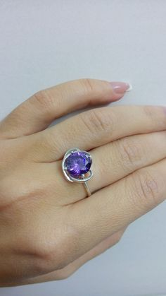SALE Prong silver ringamethyst ring february by candybohojewelry