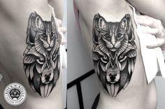 cat & wolf by Kasia Oskarbska