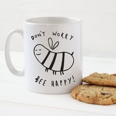 SECONDS Bee Happy Mug Stylish Ceramic Mug by OldEnglishCo