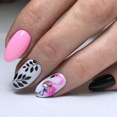 Summer nail design with pink flamingo pattern. Here is a list of the coolest summer nail designs for 2018. Are you   ready for the hot season, road trips, picnics, swimming and long walks   on the beach? #lifestyle #naildesign #nailart #summernails