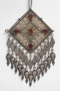 Pectoral Ornament with Openwork Design.  Turkmen - Asia. Mid- 19th - mid- 20th century. Silver, silver-gilt, and carnelian.