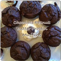 Chocolate Peanut Butter Muffins shared by tiu.ez! 2 bananas, 2 eggs, 1 cup peanut butter, 2/3 cup unsweetened cocoa powder, 2 scoops chocolate Perfect Fit Protein, 1/3 cup honey, 2 tbsp vanilla extract, 1/2 tsp baking soda. Mix all ingredients together well and then stir in 1/2 cup dark chocolate chips. Pour into a muffin tray and bake at 400 degrees for 8-12 minutes or until toothpick comes out clean. Enjoy!