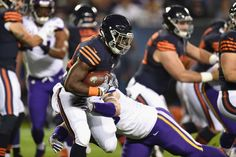 Monday Night Football: Vikings vs. Bears:   20-10, Bears  -     Mon. October 31, 2016. Brian Robison #96 of the Minnesota Vikings tackles Jordan Howard #24 of the Chicago Bears during the first half of their game at Soldier Field on Oct. 31, 2016 in Chicago.