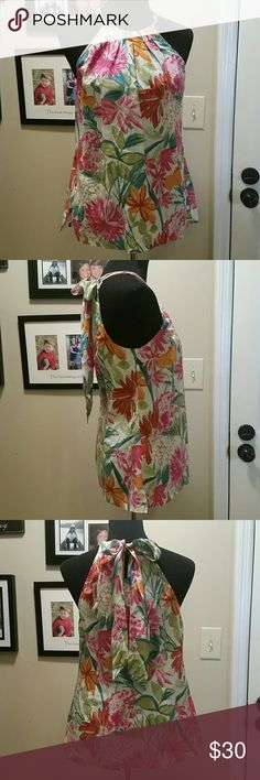 Tommy Bahama  tropical print top Tommy Bahama tropical print top, 70 cotton 30 silk. Halter neck, side slits. So cute! NWOT Tommy Bahama Tops