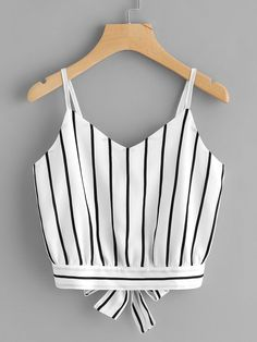 Shop Striped Split Tie Back Crop Cami Top online. - Shop Striped Split Tie Back Crop Cami Top online. SheIn offers Striped Split Tie Back Crop Cami Top & more to fit your fashionable needs. Source by georgetaelster - Cami Tops, Cami Crop Top, Crop Tank, Women's Tops, Teen Fashion, Fashion Women, Fashion Outfits, Fashion Trends, Fashion Clothes