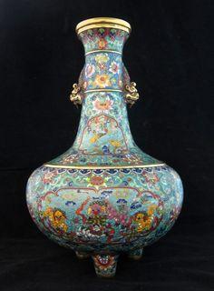 Imperial Large Chinese Enamel Cloisonne Vase : Lot 93