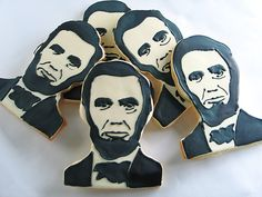 #AbrahamLincoln Custom Portraits by Rolling Pin Productions, $5.50 per wrapped cookie.  www.rollingpinproductions.com [212] 243 1158  #Lincoln