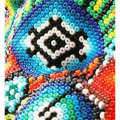 huichol bead art | Huichol Jaguar Head