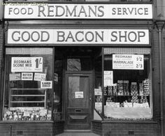 Chorlton-cum-Hardy, Wilbraham Road north side No. close-up showing food prices at time of taking, Scone Mix, Best Bacon, Manchester, North West, Shopping, England, Memories, Places, Food