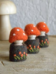 Waldorf Toadstool Tots, Autumn dolls, Toadstool peg dolls, Tree House dolls, orange, brown, green, white $21