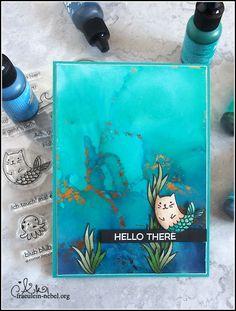 handgemachte Grußkarte mit Alkoholtinte, mit Ranger, Copic Marker und DaniPeuss Klartext | fraeulein-nebel.org Copic, Marker, Cardmaking, Poster, Cards, Inspiration, Dyes, Real Talk, Xmas Cards