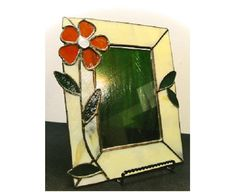 Items similar to Versatile Flower Stained Glass Picture Frame / Table and Wall on Etsy Stained Glass Frames, Stained Glass Ornaments, Stained Glass Flowers, Stained Glass Projects, Fused Glass Art, Leaded Glass, Mosaic Glass, Picture Frame Table, Glass Picture Frames