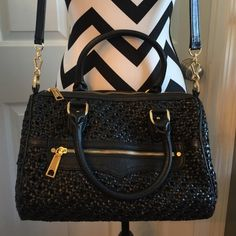 Black satchel. Rebecca Minkoff Black woven leather satchel. Dust bag included. Rebecca Minkoff Bags Satchels