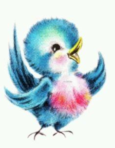 Vintage Greetings Card Vintage Bluebird LARGE Digital Image Download Sheet…