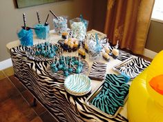 Blue zebra baby shower