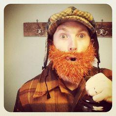 Fuzzy Beard In ORANGE Hand Crochet Handmade by ThePurloinedSweater