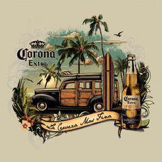 Men's Corona Retro Vintage Surf T Shirt Vintage Surf, Retro Vintage, Vintage Labels, Vintage Posters, Style Surf, Deco Surf, Surf Logo, Surf Art, Dragon Art