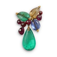 SUZANNE BELPERRON. An emerald, ruby, citrine and sapphire brooch