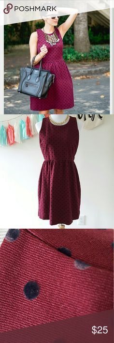 J Crew Maroon Polka Dot Dress Large Day to Night! Easy to wear dress, dress up or down!  Pair with black tights during the winter.  Sz. L  Some polka dots show some wear. J. Crew Factory Dresses Midi